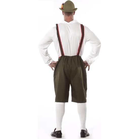 Oktoberfest - Groene/rode Tiroler lederhosen verkleed kostuum/broek voor heren
