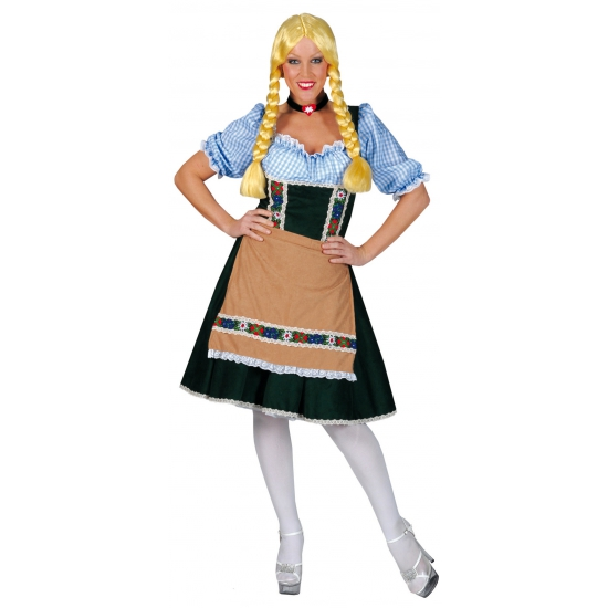 Oktoberfest - Groene Tirolerjurk met blauw shirtje
