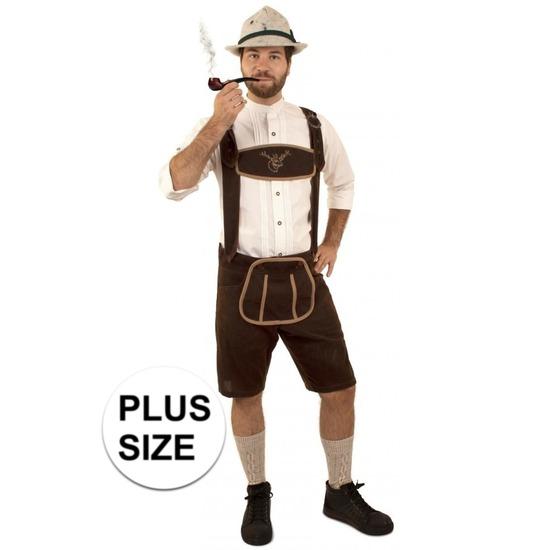 Oktoberfest - Grote maat korte lederhosen suedine donkerbruin voor heren