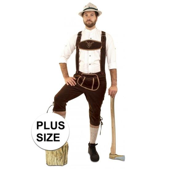 Oktoberfest - Grote maat lange lederhosen suedine donkerbruin voor heren