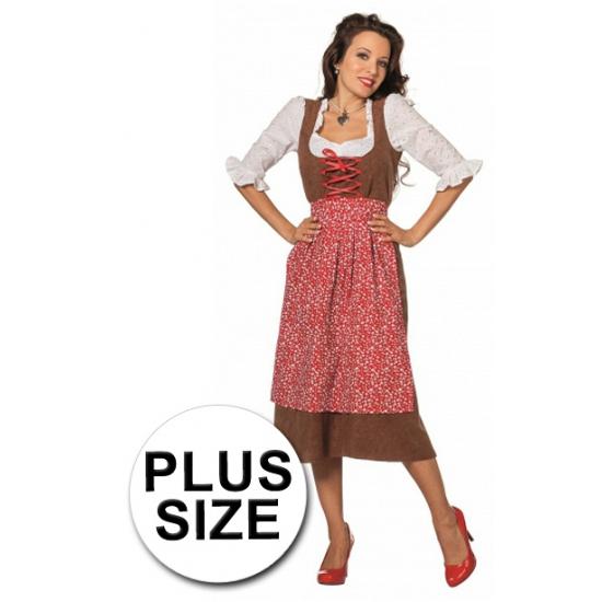 Oktoberfest - Grote maat lange tiroler jurk 46 (3XL) Multi