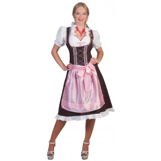 Oktoberfest - Grote maten Tiroler Dirndl bruin en roze