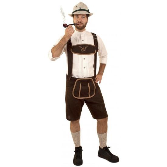 Oktoberfest - Korte lederhosen suedine donkerbruin voor heren