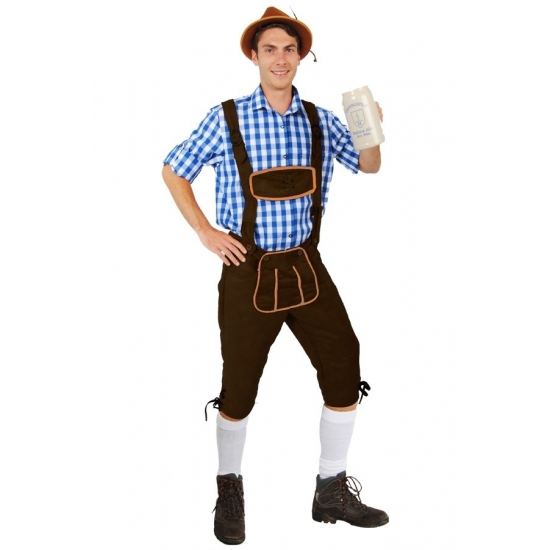 Oktoberfest - Lange lederhose Andreas donkerbruin voor heren