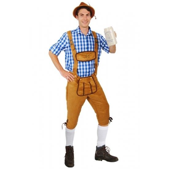 Oktoberfest - Lange lederhose Markus lichtbruin voor heren