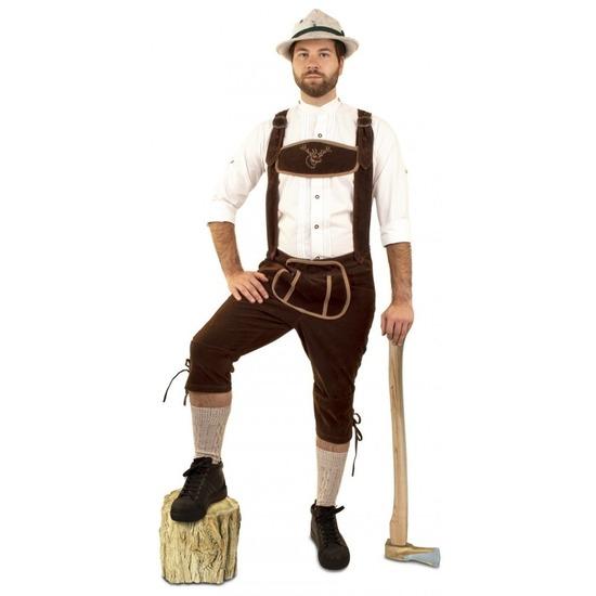 Oktoberfest - Lange lederhosen suedine donkerbruin voor heren