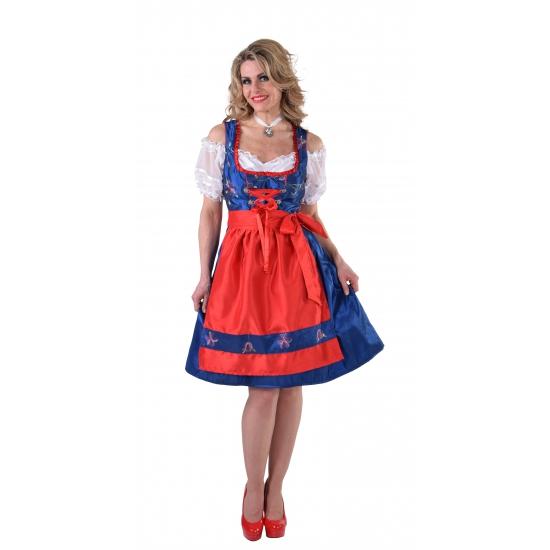 Oktoberfest - Luxe blauwe Dirndl jurk met rood schort