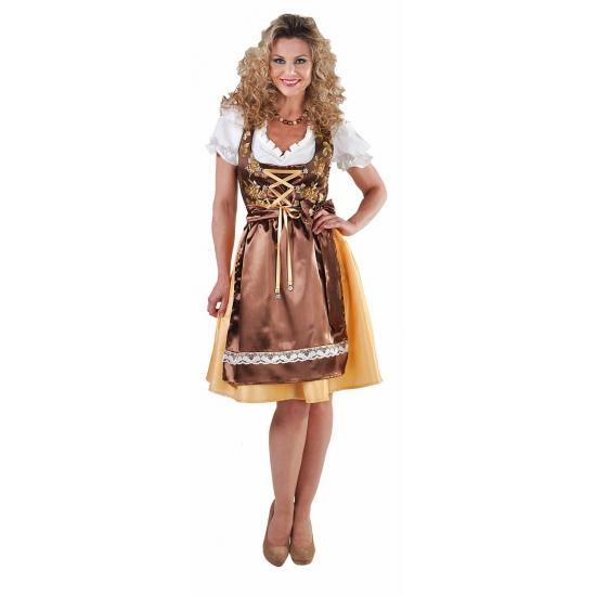 Oktoberfest - Luxe goud/bruine Tiroler Dirndl jurk voor dames