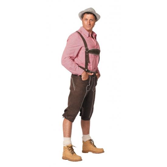 Oktoberfest - Luxe lange bruine Tiroler lederhosen verkleed kostuum voor heren