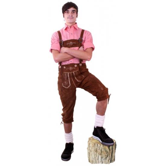 Oktoberfest - Luxe lederen bruine Tiroler lederhosen verkleed kostuum heren