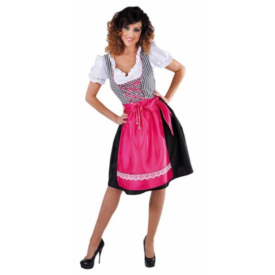 Oktoberfest - Luxe zwarte dirndl met roze schort