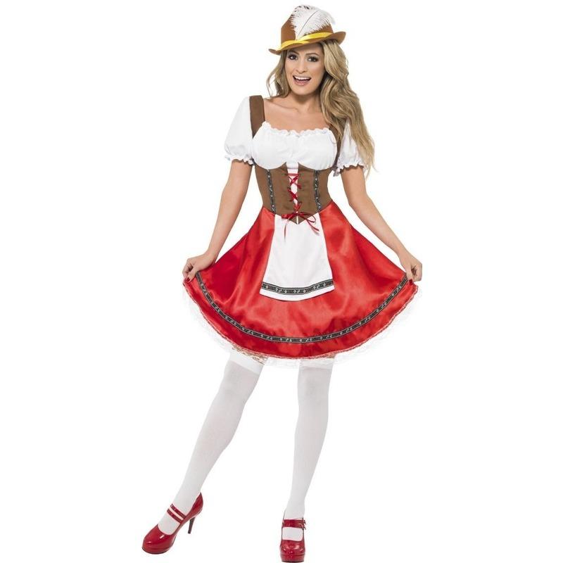 Oktoberfest - Rode/bruine Tiroler dirndl verkleed kostuum/jurkje voor dames