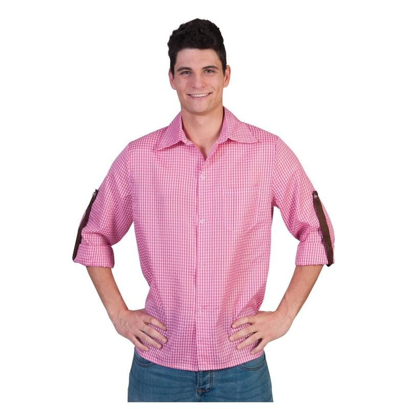 Oktoberfest - Roze geruite blouse voor heren