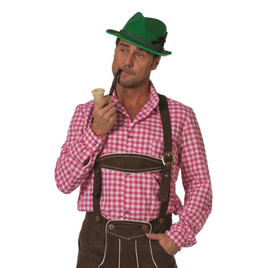 Oktoberfest - Roze/witte Tiroler blouse lange mouw