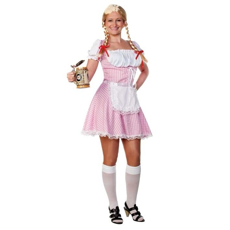 Oktoberfest - Roze/witte Tiroler dirndl verkleed kostuum/jurkje voor dames