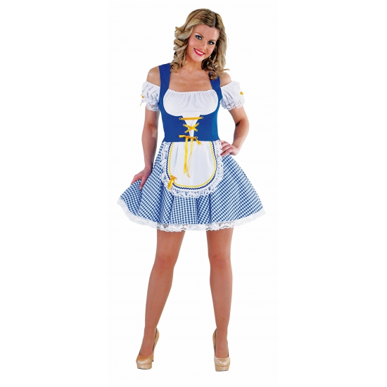 Oktoberfest - Sexy blauw/wit Tiroler dirndl verkleed kostuum/jurkje voor dames