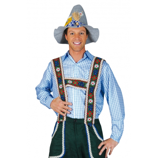 Oktoberfest - Tiroler blouse blauw voor heren