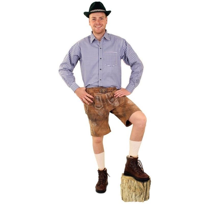 Oktoberfest - Tiroler blouse blauw/wit geblokt voor heren
