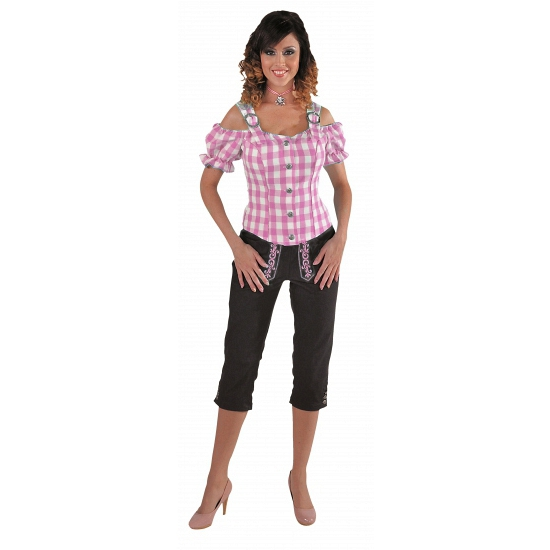 Oktoberfest - Tiroler blouse off shoulder roze grote ruit