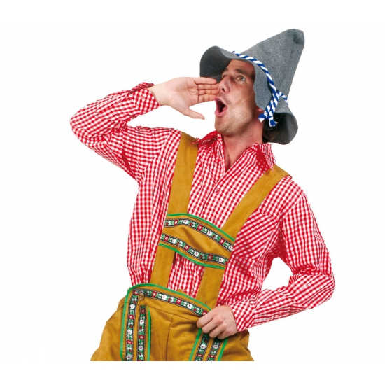 Oktoberfest - Tiroler blouse rood voor heren