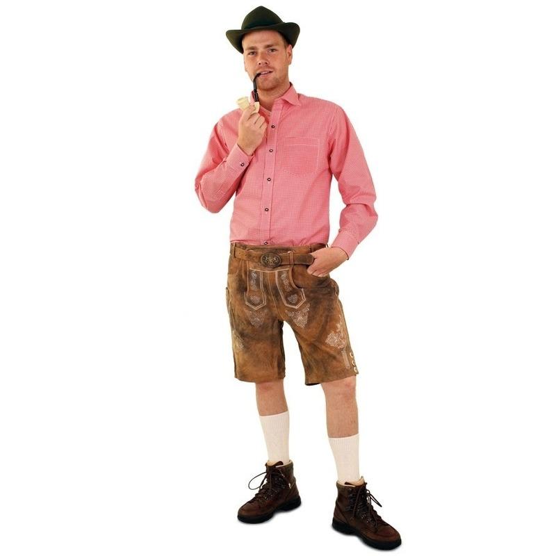 Oktoberfest - Tiroler blouse rood/wit geblokt voor heren