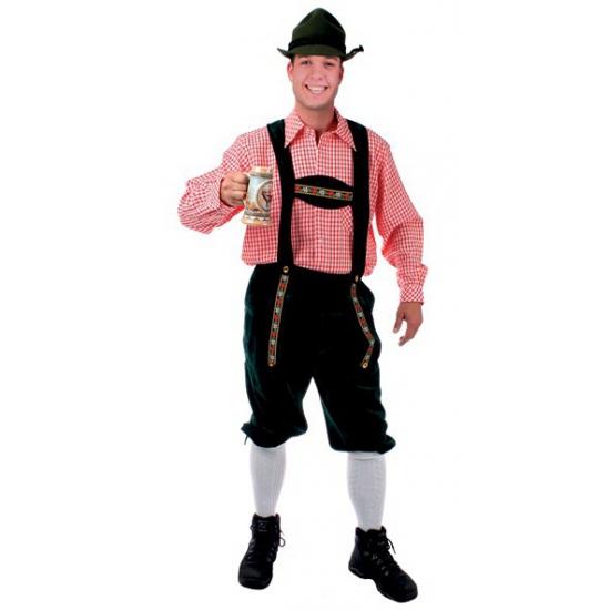 Oktoberfest - Tiroler blouse rood/wit geblokt