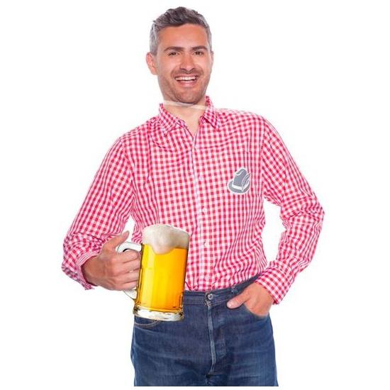 Oktoberfest - Tiroler blouse rood wit voor heren