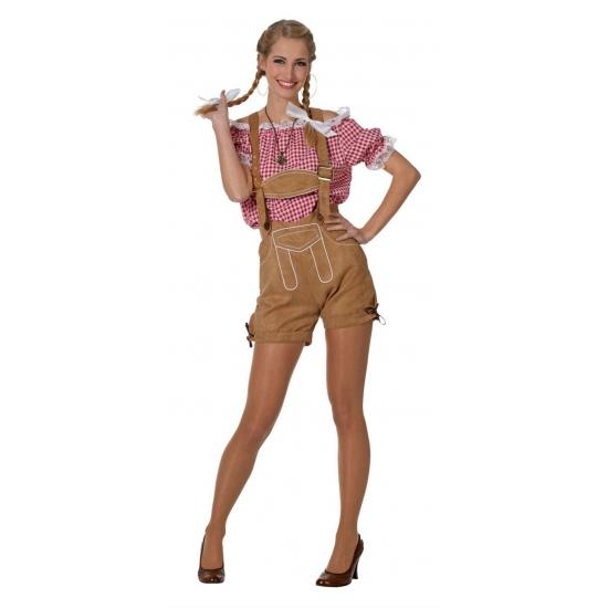 Oktoberfest - Tiroler/oktoberfest blouse voor dames rood/wit