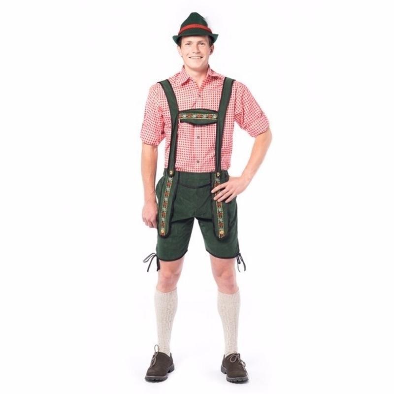 Oktoberfest - Voordelige groene korte lederhosen voor heren