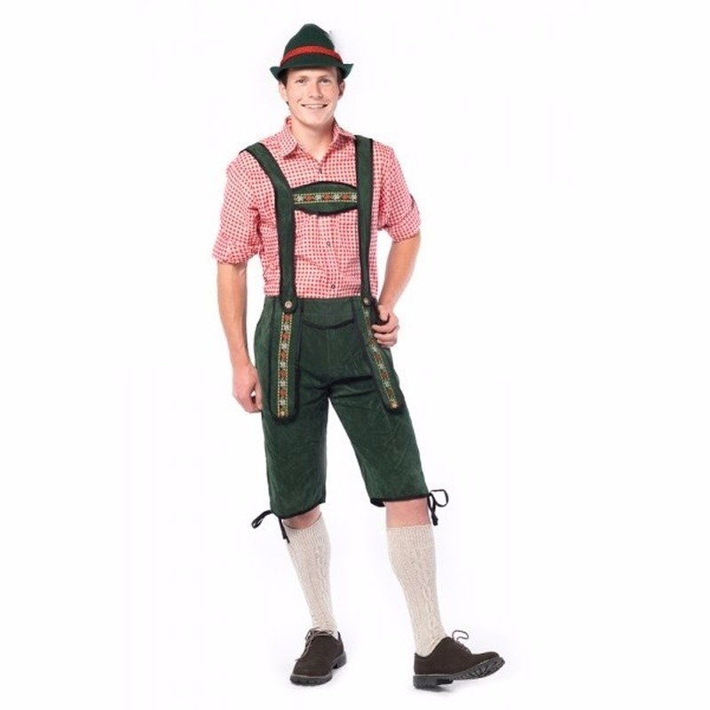 Oktoberfest - Voordelige groene lange lederhosen voor heren