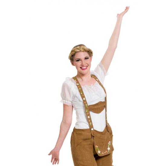 Oktoberfest - Witte Tiroler blouse verkleed kostuum/top voor dames