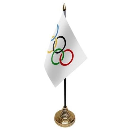 Olympische Spelen tafelvlaggetje 10 x 15 cm met standaard