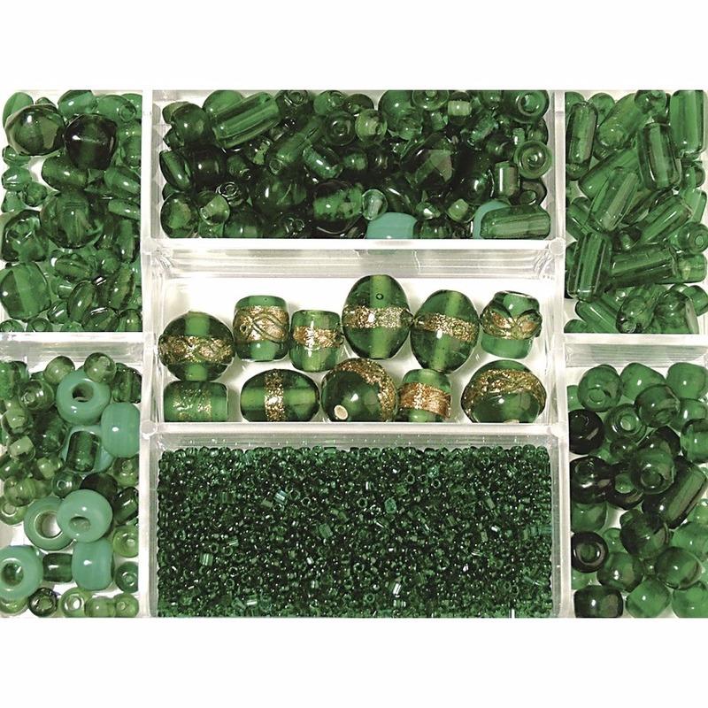Opbergdoos donkergroene glaskralen 115 gram
