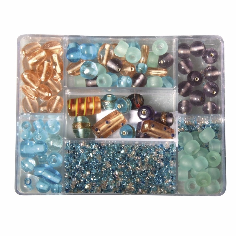 Opbergdoos turquoise/parel glaskralen 115 gram Multi