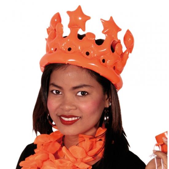 Opblaasbare oranje kroon voor dames