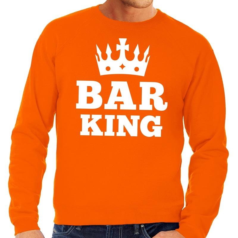 Oranje Bar King met kroontje sweater heren