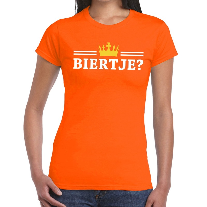 Oranje Biertje en kroon shirt dames