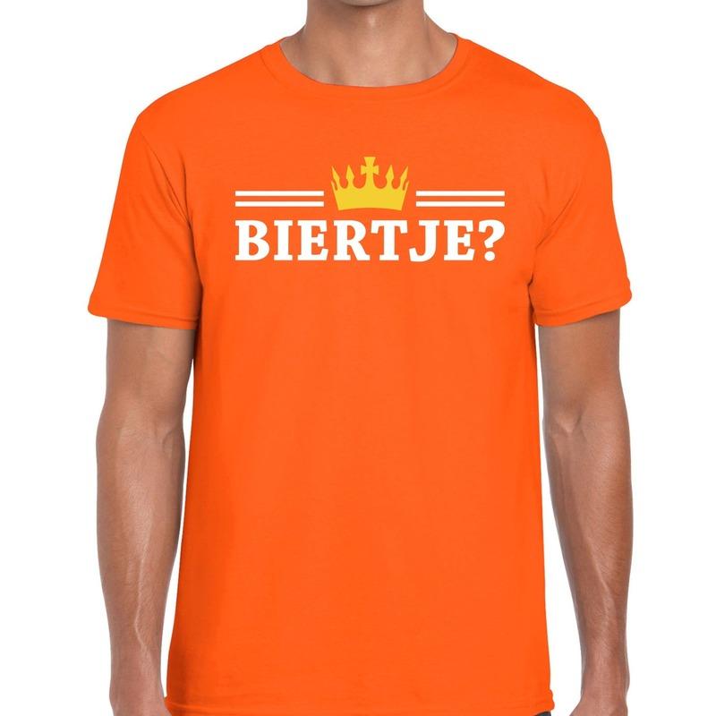 Oranje Biertje en kroon shirt heren