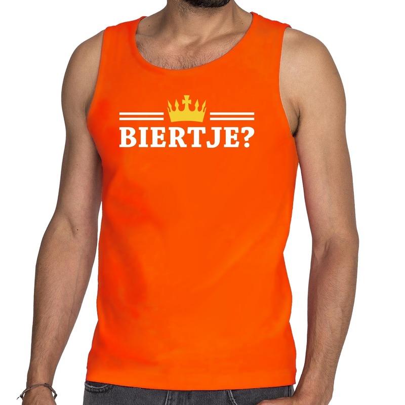 Oranje Biertje met kroon tanktop - mouwloos shirt heren