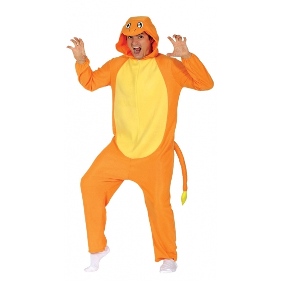Oranje cartoon draak onesie voor volwassenen