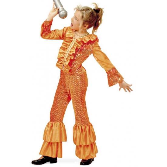 Oranje disco verkleed kostuum meisjes
