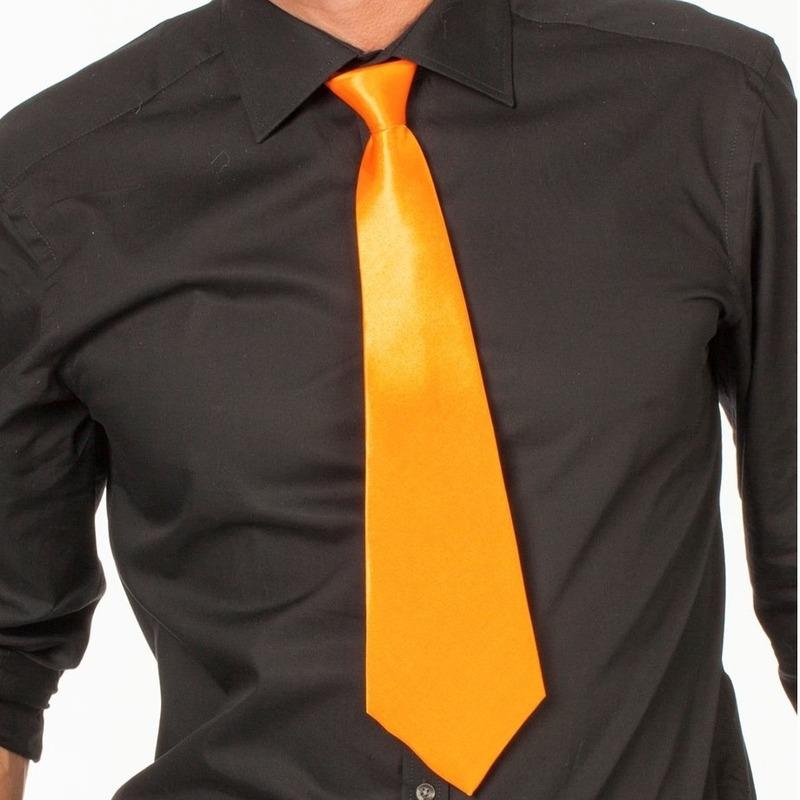 Oranje fan stropdas 41 cm verkleedaccessoire voor dames/heren