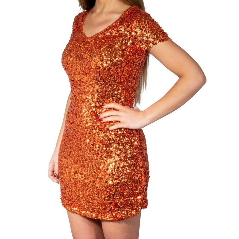 Oranje glitter pailletten disco jurkje dames