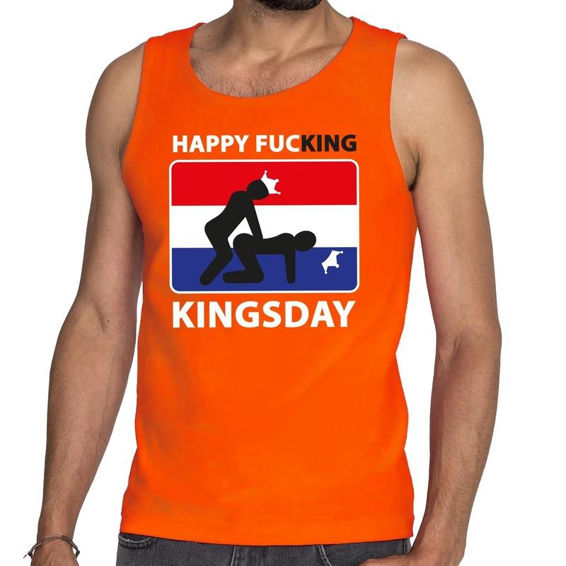 Oranje Happy fucking Kingsday tanktop - mouwloos shirt heren