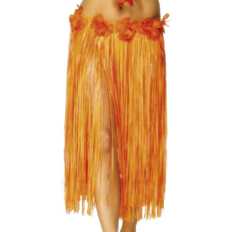 Oranje Hawaii rokje met bloemen