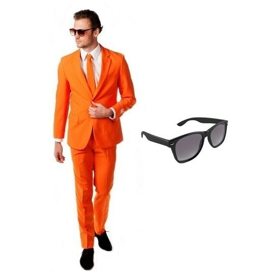Oranje heren kostuum maat 48 (M) met gratis zonnebril