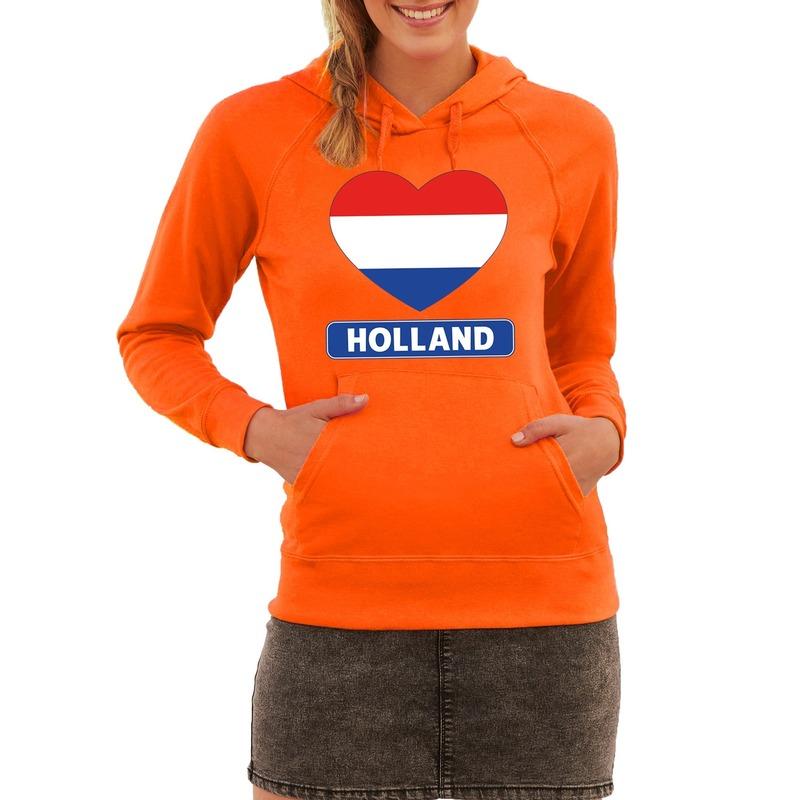 Oranje Holland hart vlag hoodie dames