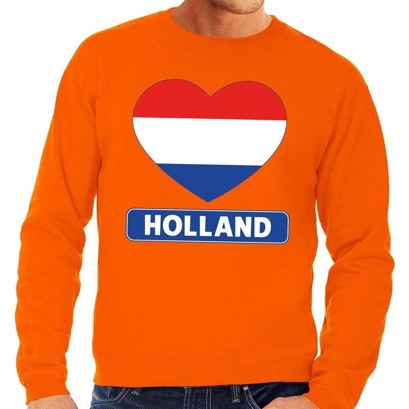 Oranje Holland hart vlag sweater heren