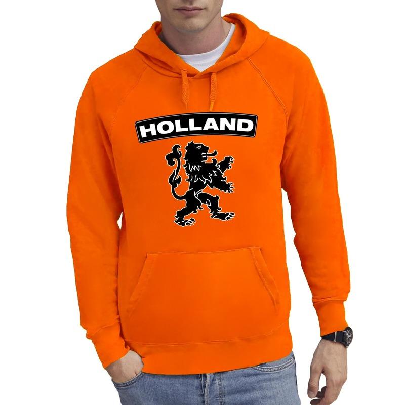 Oranje Holland hoodie met zwarte leeuw heren