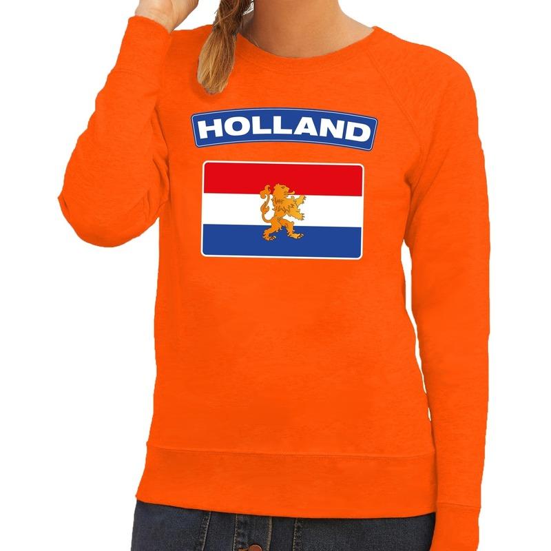 Oranje Holland vlag sweater dames